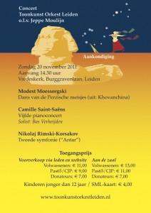 Aankondiging concert Toonkunstorkest Leiden 20 nov. 2011